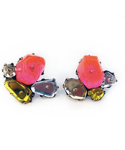 stud earrings with pink, yellow and silver plexiglass shapes attached together with metal