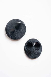 Two brooches made from black Springbok hair