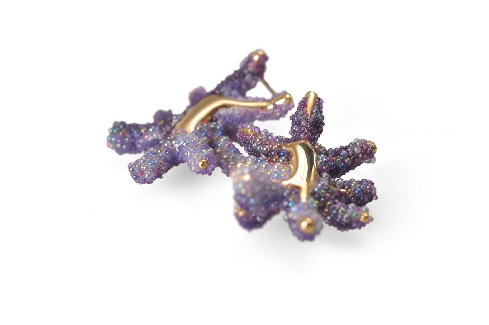 purple earrings made from gold and purple glass spheres