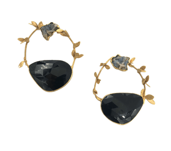 Earrings made from gold wire with large black spinel set at the bottom