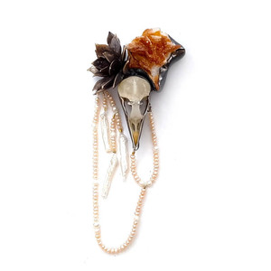 Brooch made from European Starling skull, vanadinite, freshwater pearls, fine silver, sterling silver, cast bronze hen and chick