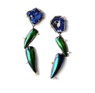 Metallic green and blue earrings made from azurite, jewel beetle wing casings, Ethiopian white opals, fine silver, sterling silver