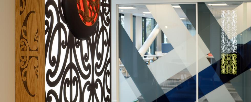 Maori Artwork & View into Cafe'