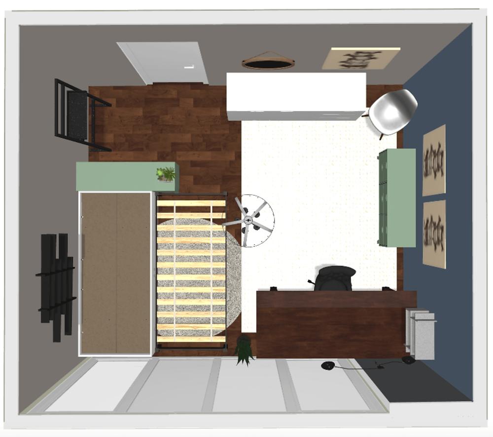 Grundriss 3D mit Layout und (Wand-)farben des Entwurfs