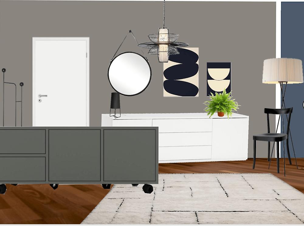 Teppich, Sideboard, Spiegel, Kunst