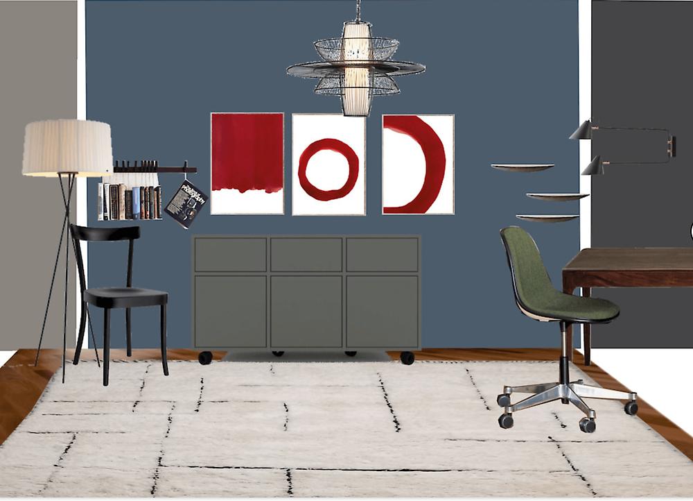 Schreibtisch, Leuchte, Stuhl, Sideboard, Kunst, Deckenleuchte, Interior Design Zürich