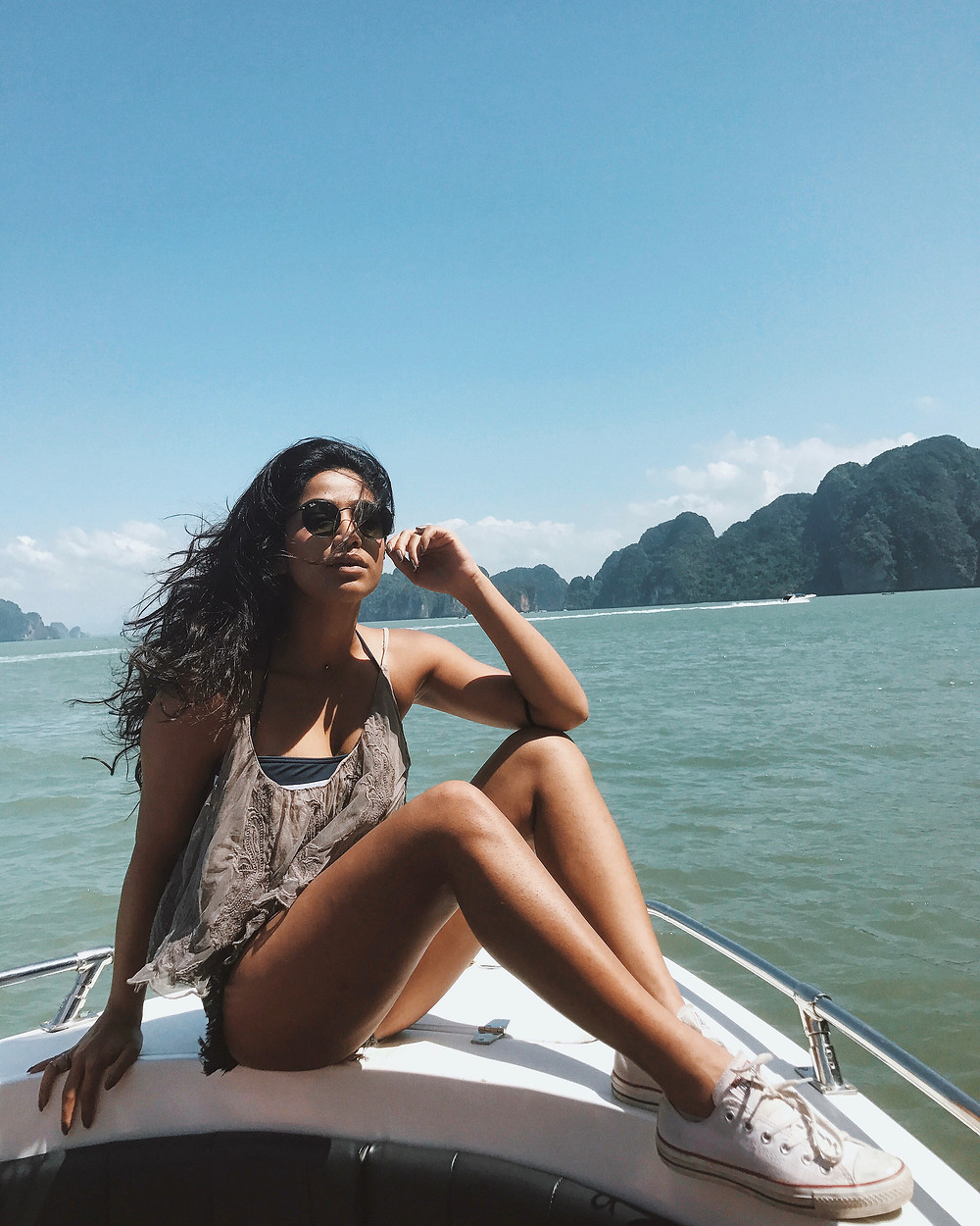 Enjoying the boat ride during the James Bond Island tour