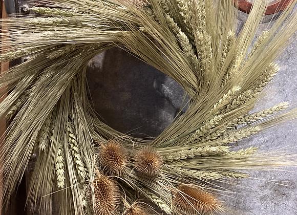 Teasel wheat wreath