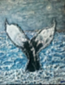 Whale Watching Mixed Media Painting 16x20""