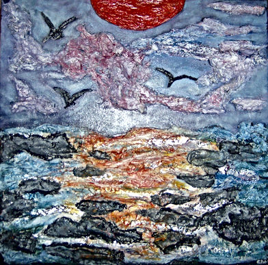 "Down by the Sea 16x16"" mixed media-gallery wrap canvas.jpg"
