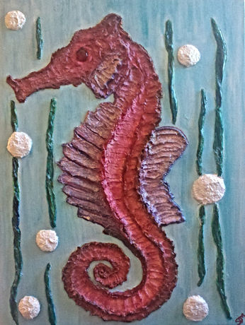 "Seahorse Mixed Media Painting, 18x24"""