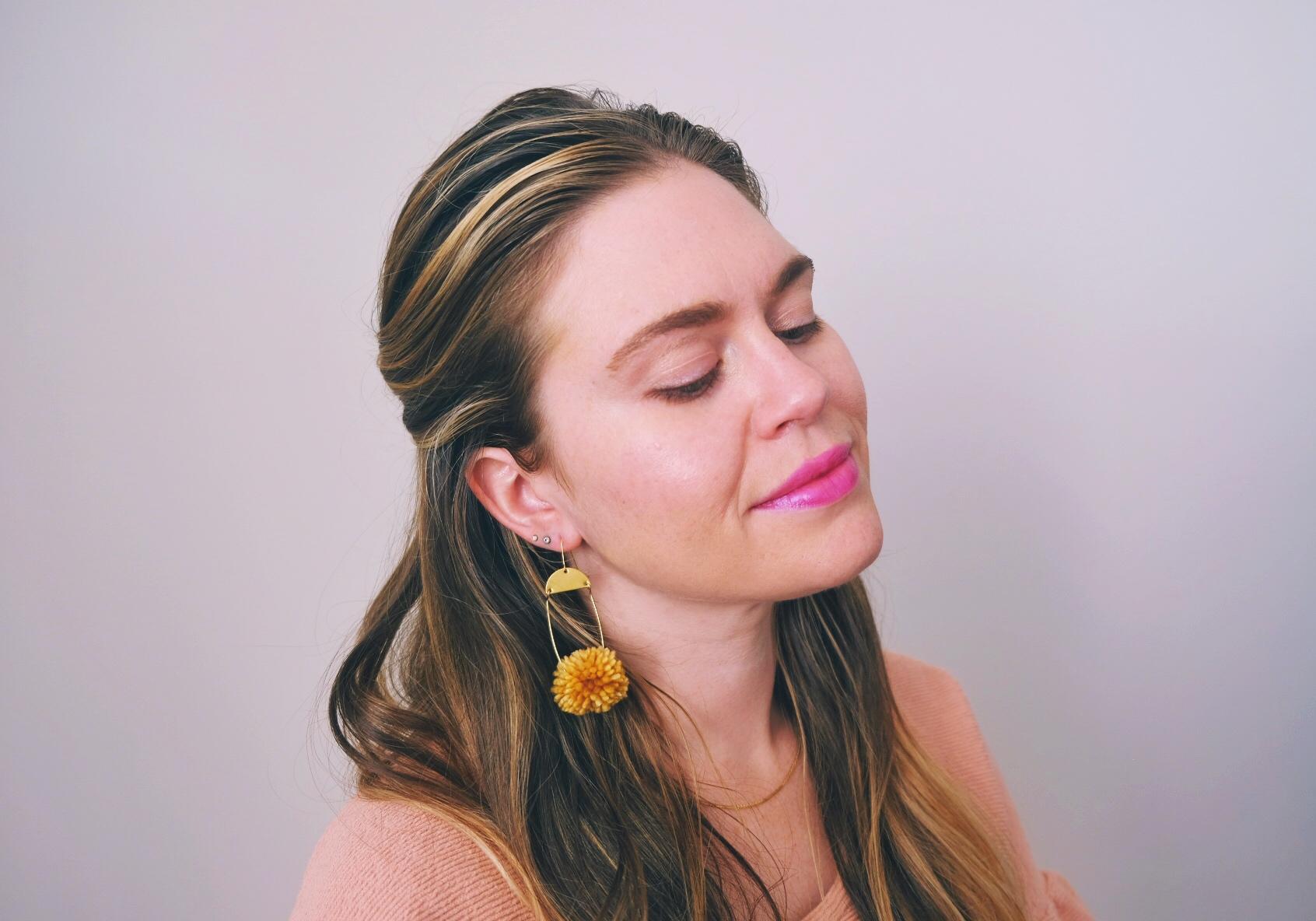 Brass drop pom pom earring