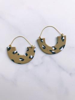 clay and gold hoop earrings