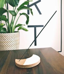 Crescent moon ceramic incense holder