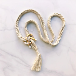 Gold clay knot macrame necklace