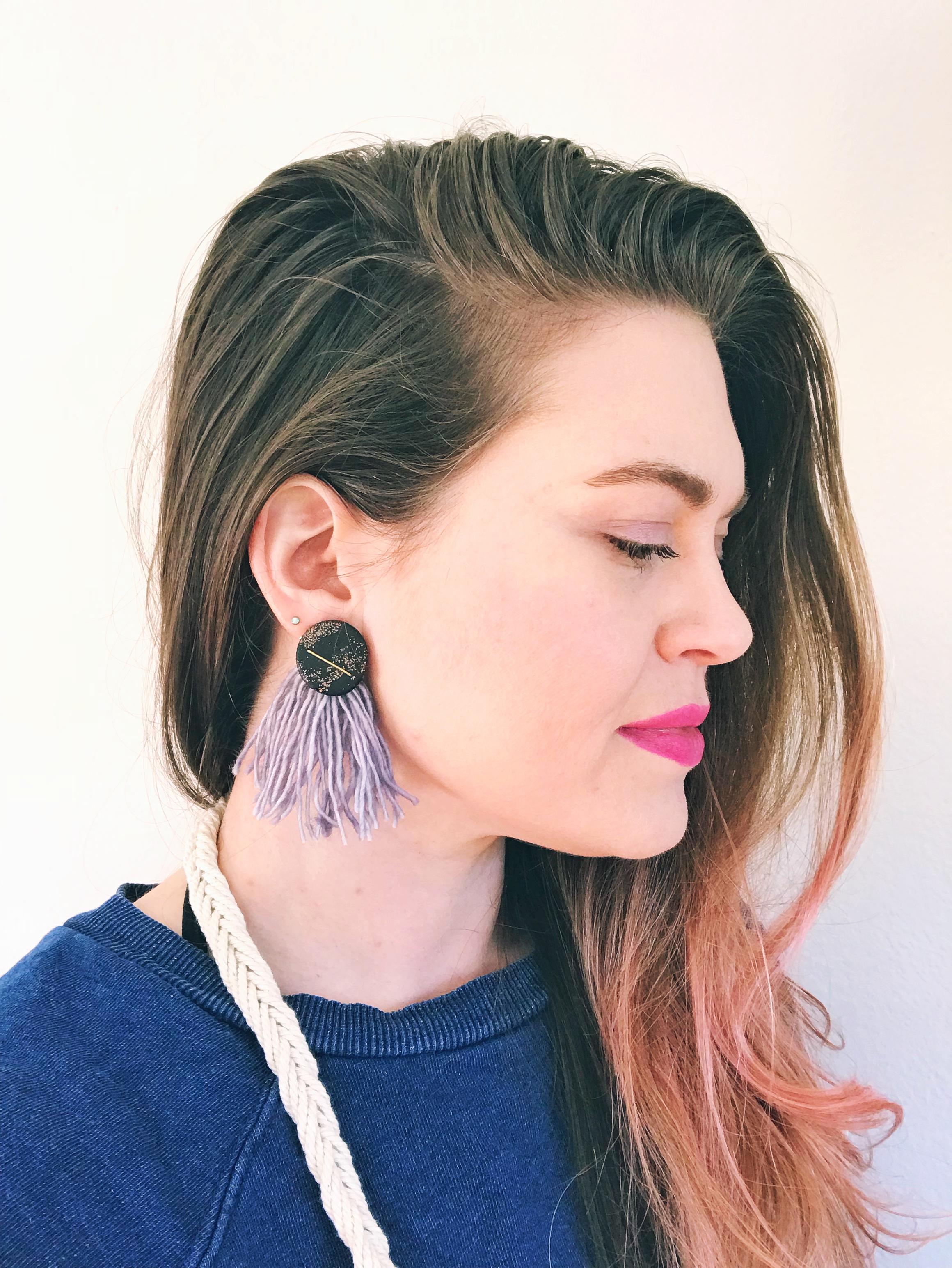 Nebula tassel earrings