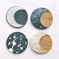 Full moon ceramic incense holders