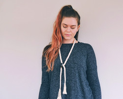 Lariat knot macrame necklace