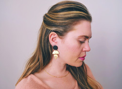 brass and clay drop earring