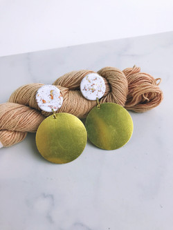 clay and brass full moon earring