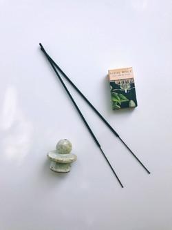 geometric clay incense holder