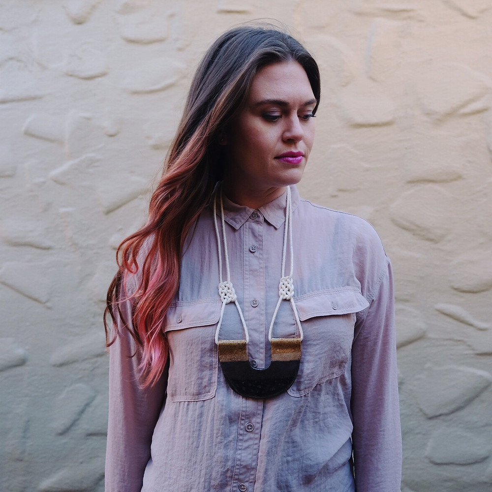 Boho style ceramic necklace with macrame knots