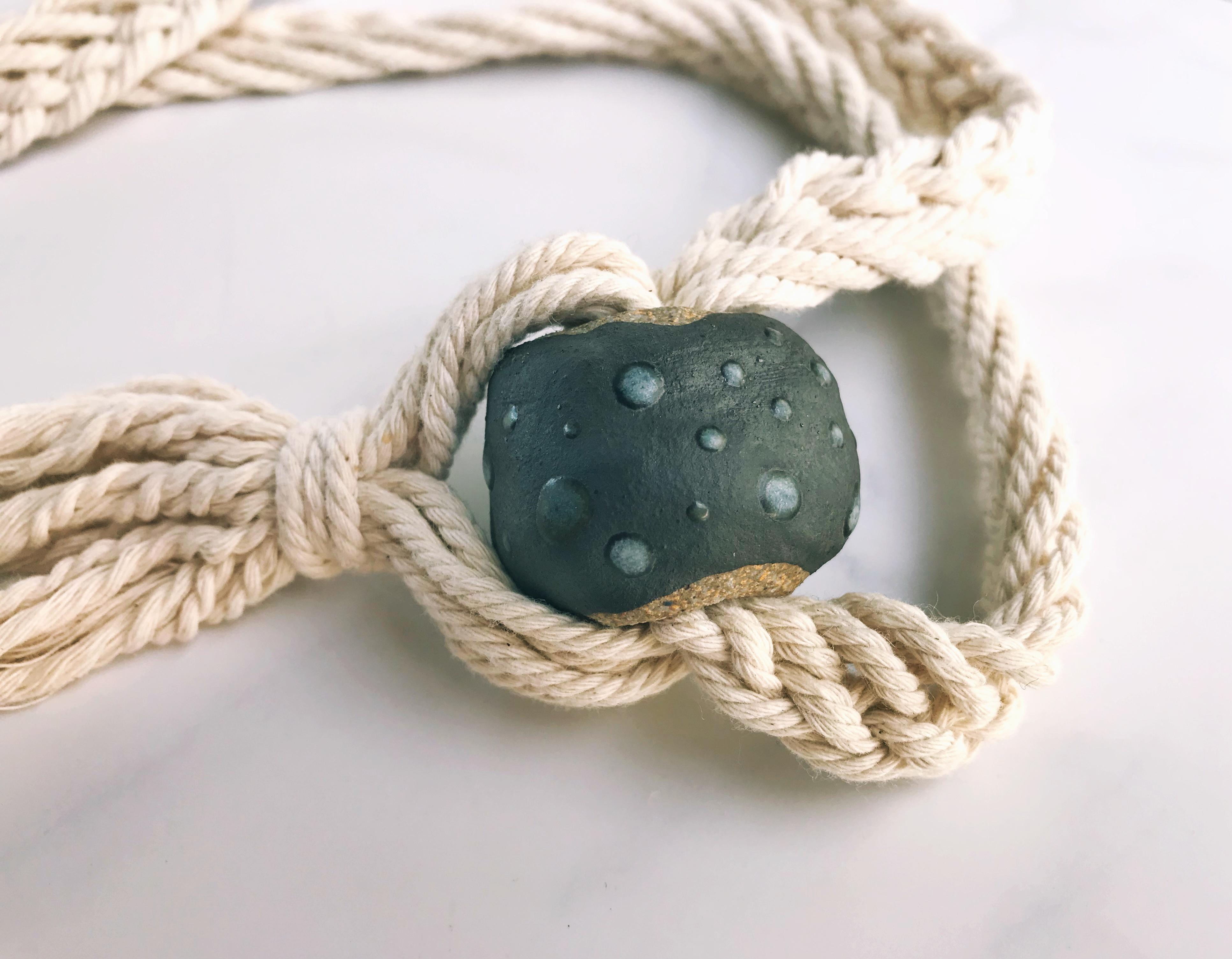 Ceramic bead macrame necklace