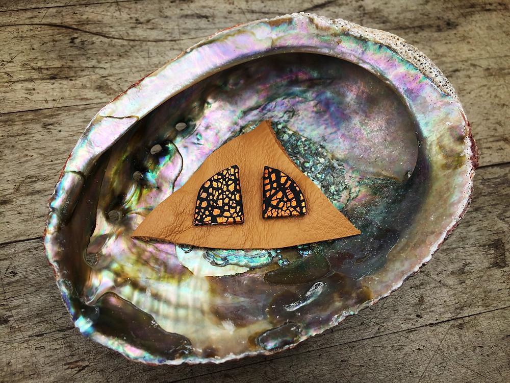 handmade clay earrings gold