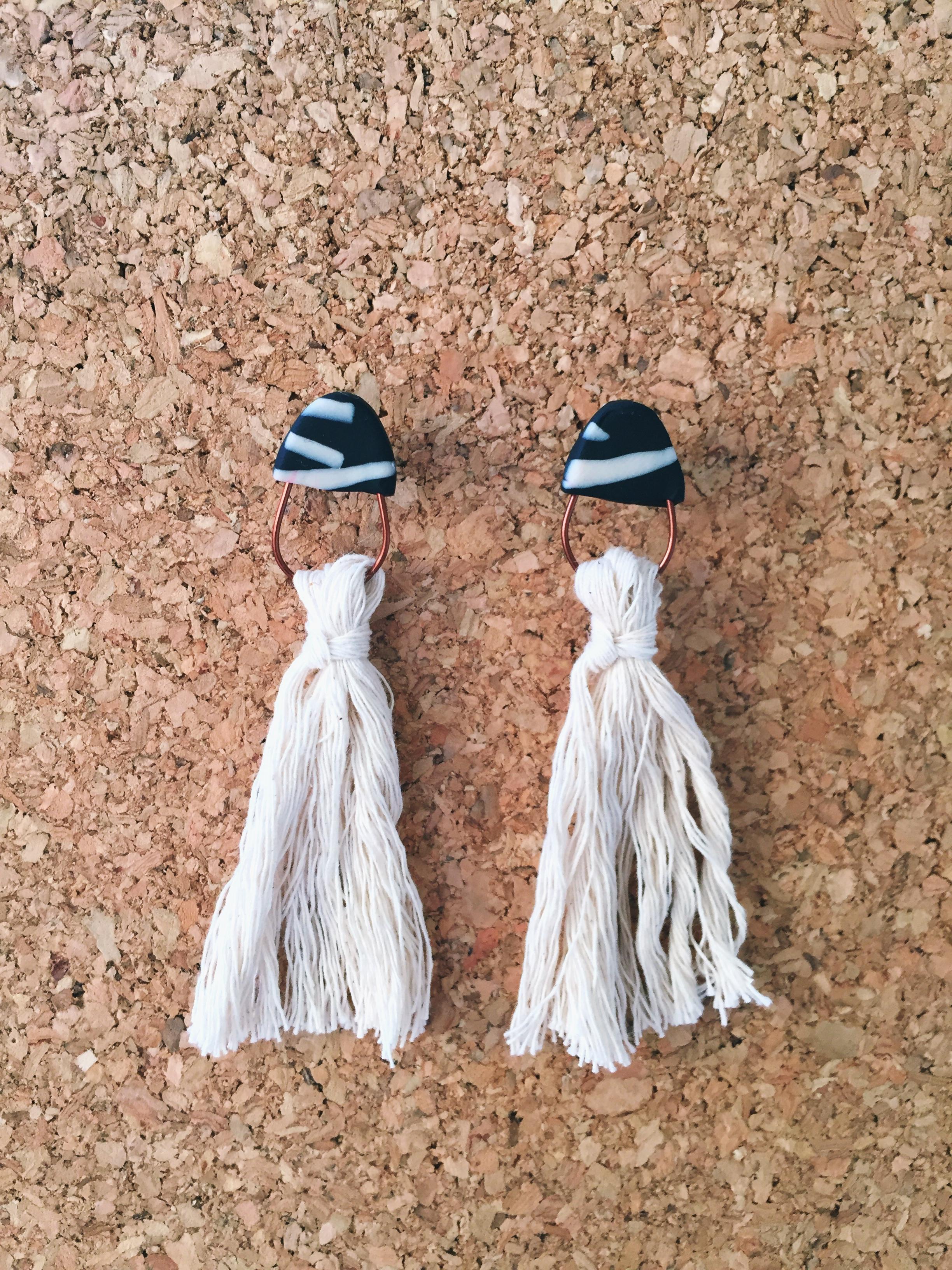 Clay tassel earrings