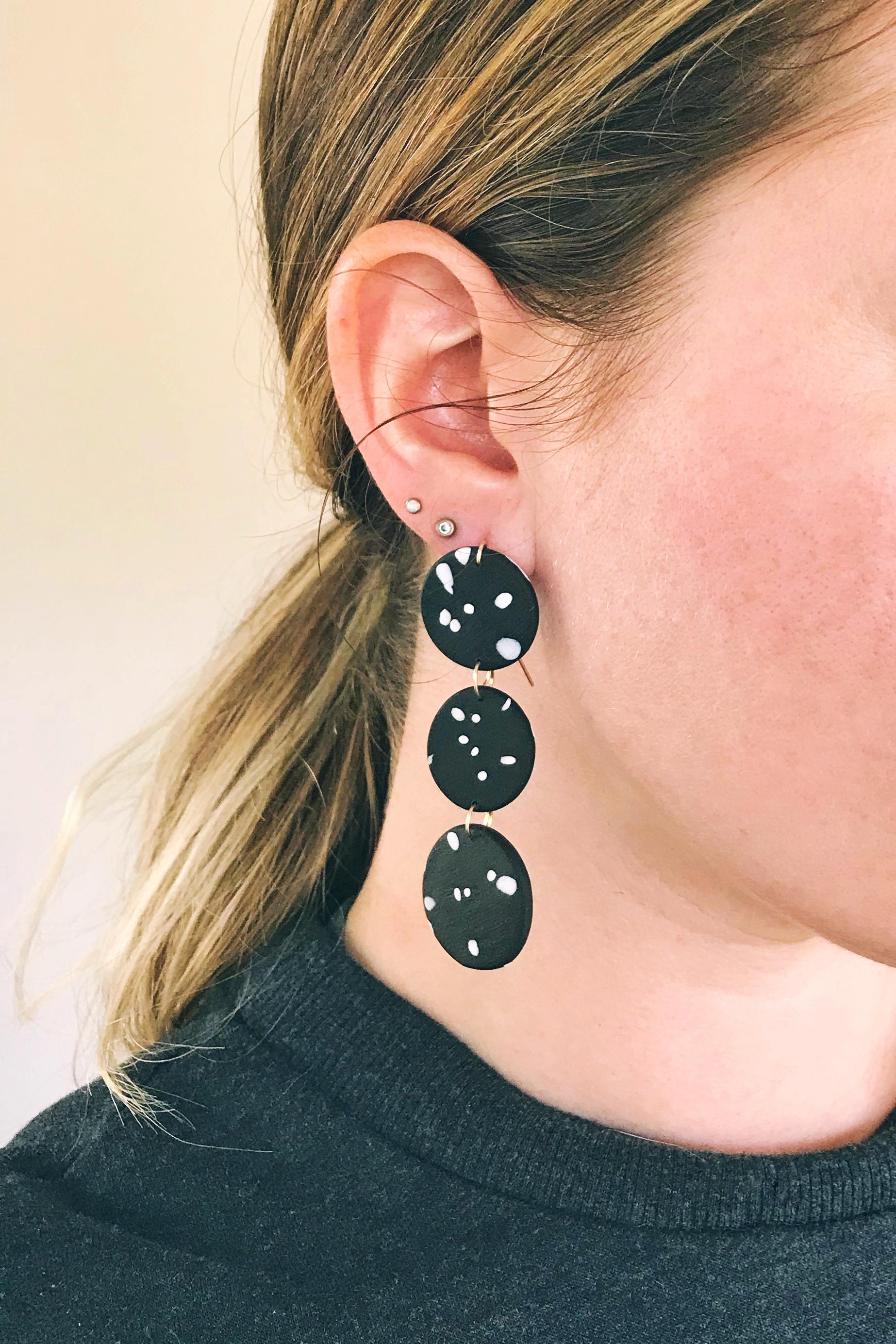 Three Dot Drop Earrings