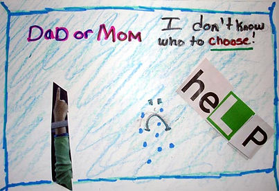 Children's drawing of mom and dad