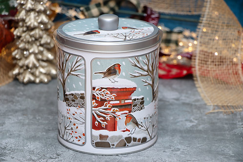 Grandma Wilds Embossed Robins In Winter Round Biscuit Tin