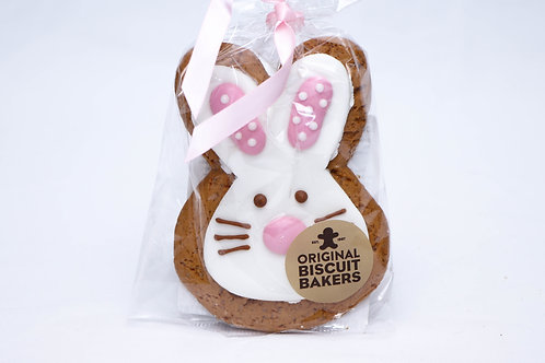 Iced Pink Gingerbread Rabbit Biscuit