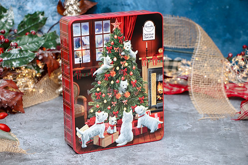 Bramble Foods Scotty Dog Tree Tin with Assorted Biscuits