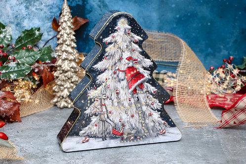 Grandma Wilds Embossed Santa Up The Christmas Tree Tin