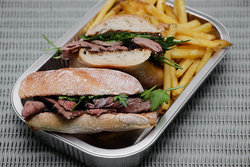 Hot Beef Ciabatta and Fries