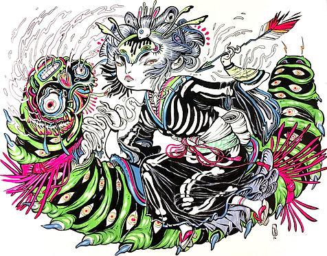 Battle of the Caterpillar Kaiju by Lauren YS