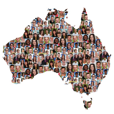 Australia map multicultural group of you