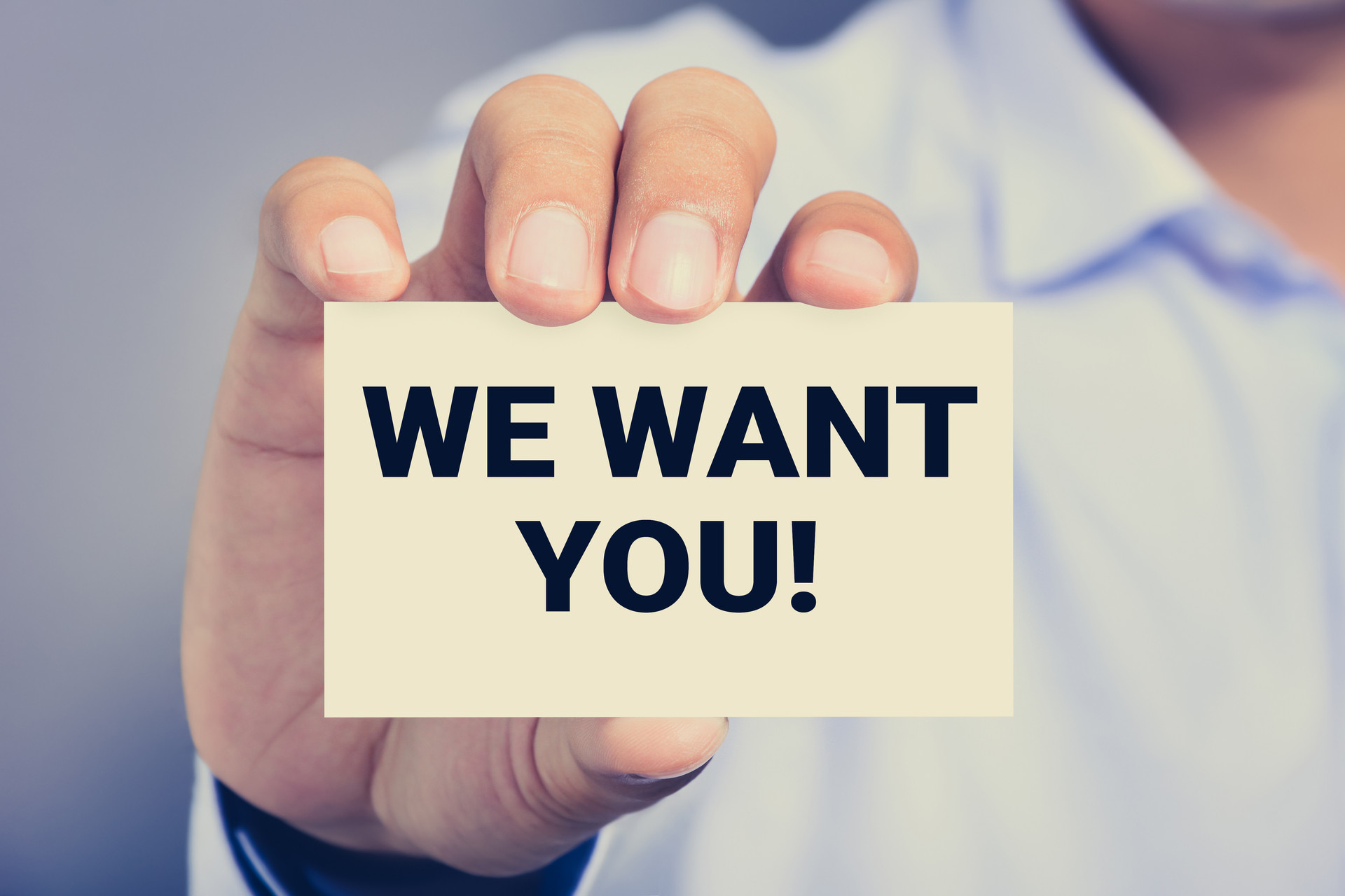 WE WANT YOU! message on the card shown b