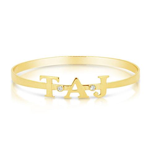 Customized Gold Bracelet With CZ