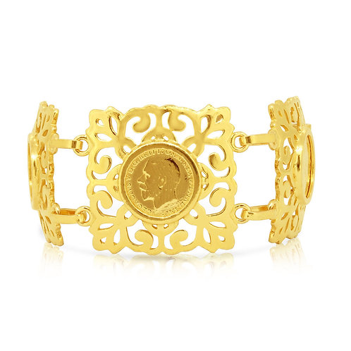 Four 1/4 Sovereign King George Gold Bracelet