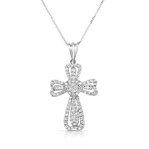 Heart Sides Diamond Cross Pendant