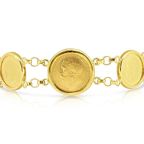 5 King George Coins Delicate Bracelet