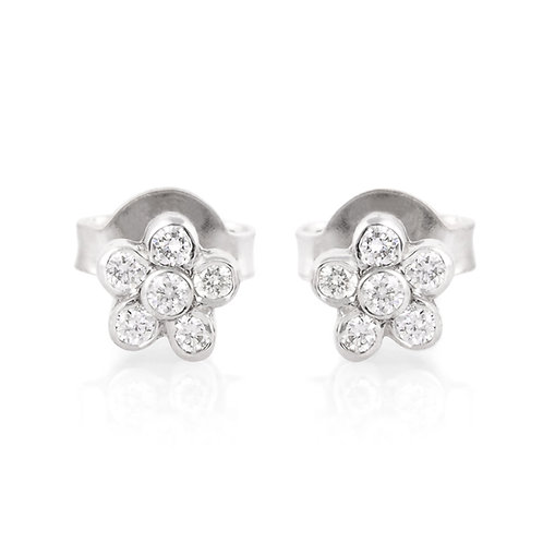Flower Stud Diamond Delicate Earrings