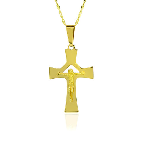 Gold Cross Pendant Necklace 14K