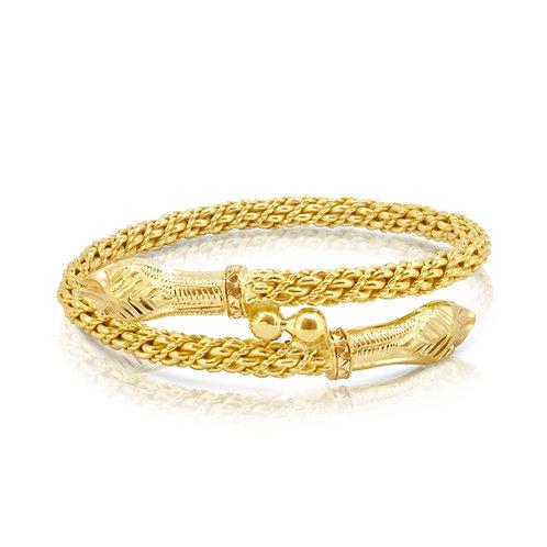 Ornamented Dual Snake Bracelet