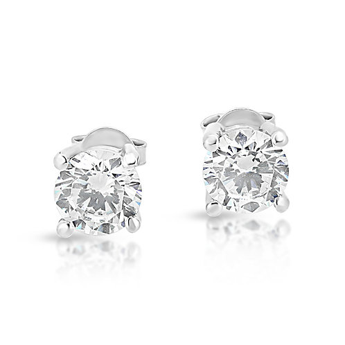 Solid Gold CZ Solitaire Earrings