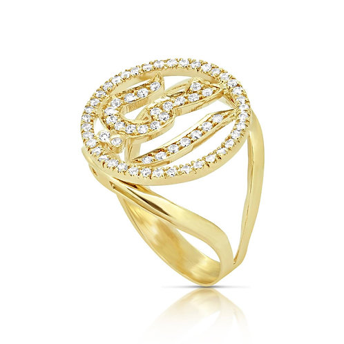 "Arabesque Signet ""MOM"" Personalized Ring"