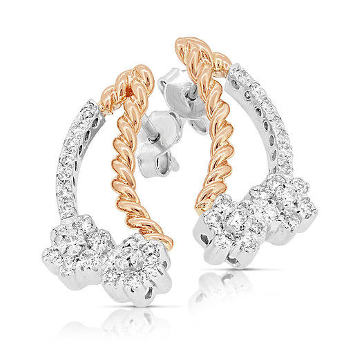 White & Rose Gold Diamond Valentine's Earrings