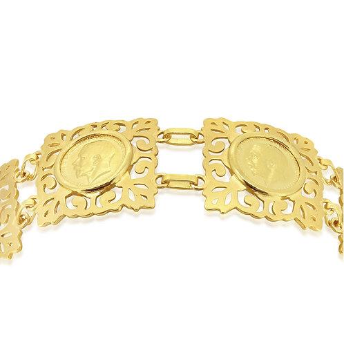 Four 1/2 Sovereign Yellow Gold Bracelet